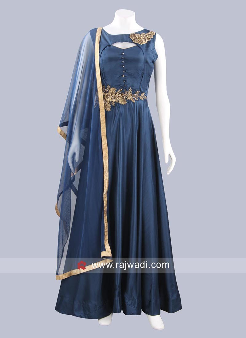 Art Silk Peacock Blue Anarkali Dress