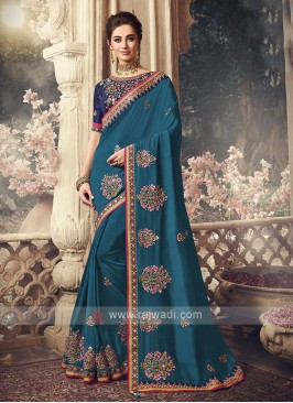 Art Silk Peacock Blue Saree