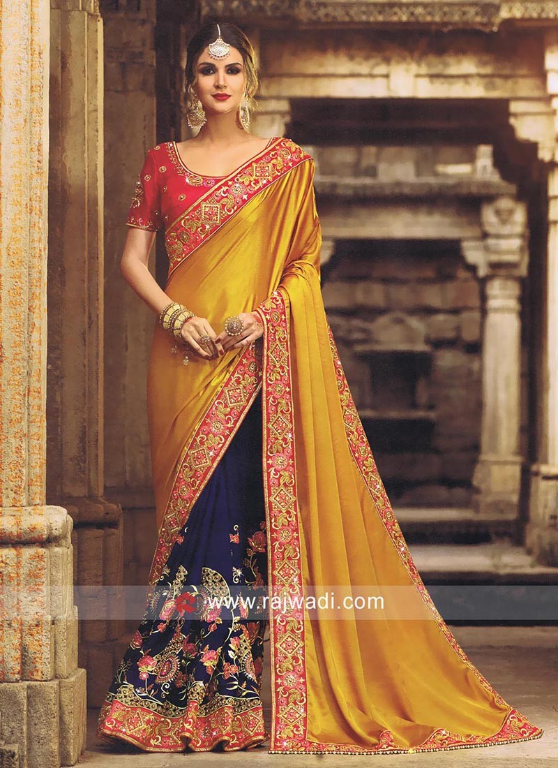 Art Silk Pearl and Resham Work Half Saree