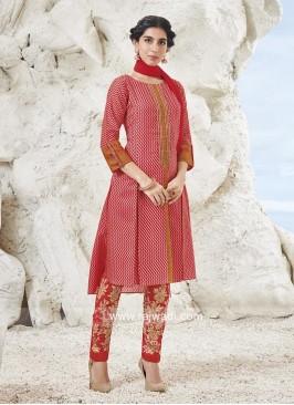 Art Silk Pearl Work Trouser Suit