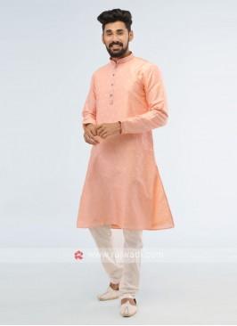 Art Silk Pink Color Kurta Pajama