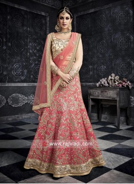 Art Silk Pink Heavy Lehenga Choli
