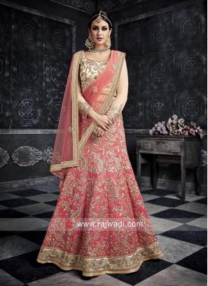Art Silk Pink Heavy Lehenga Choli