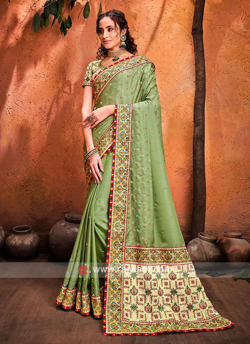 Art Silk Pista Green Designer Saree