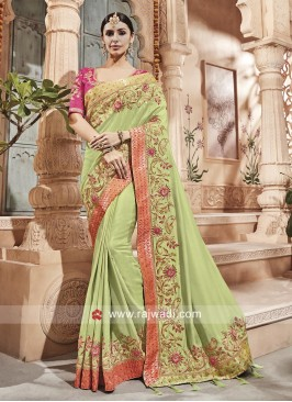 Art Silk Pita and Pearl Work Saree