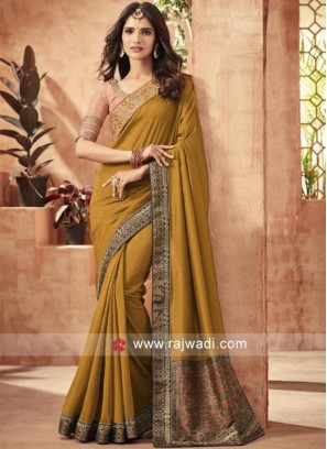 Art Silk Plain Saree with Border