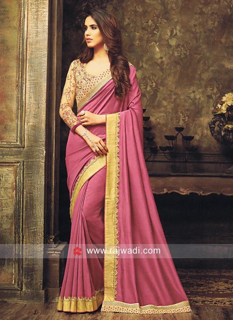 Art Silk Plain Sari with Designer Border
