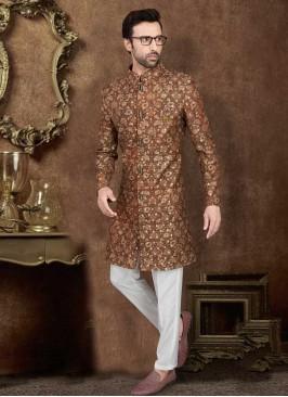 Art Silk Printed Indo-Western In Brown