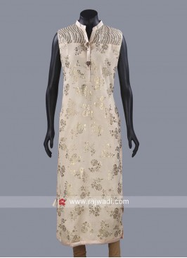 Art Silk Printed Kurta with Stone Work