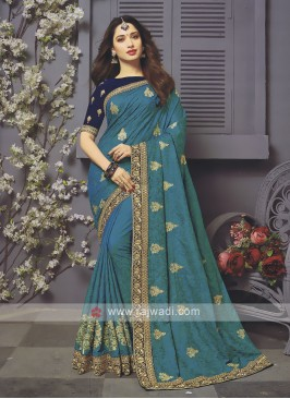 Art Silk Rama Blue Designer Saree
