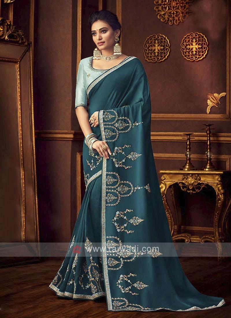 Art Silk Rama Blue Saree
