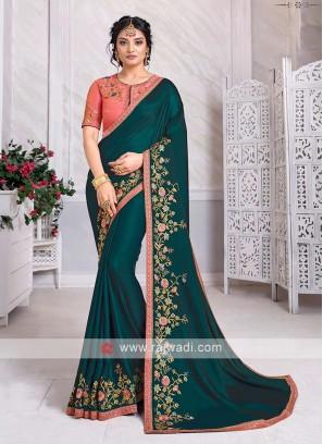 Art Silk Rama Green Color Saree
