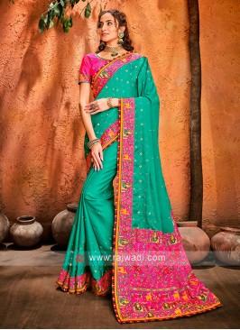 Art Silk Rama Green Designer Saree