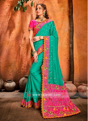 Art Silk Rama Green Designer Saree