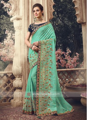 Art Silk Rama Green Saree