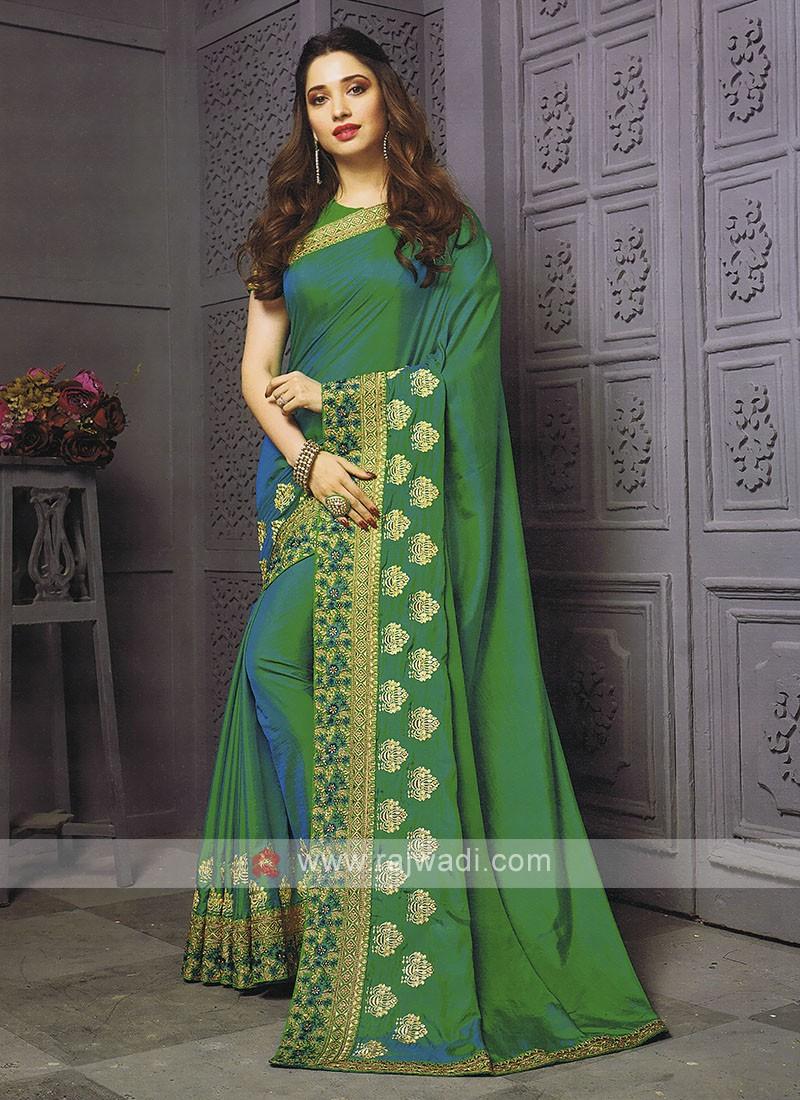 Art Silk Rama Green Shaded Saree