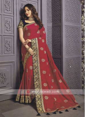 Art Silk Rani Color Designer Saree