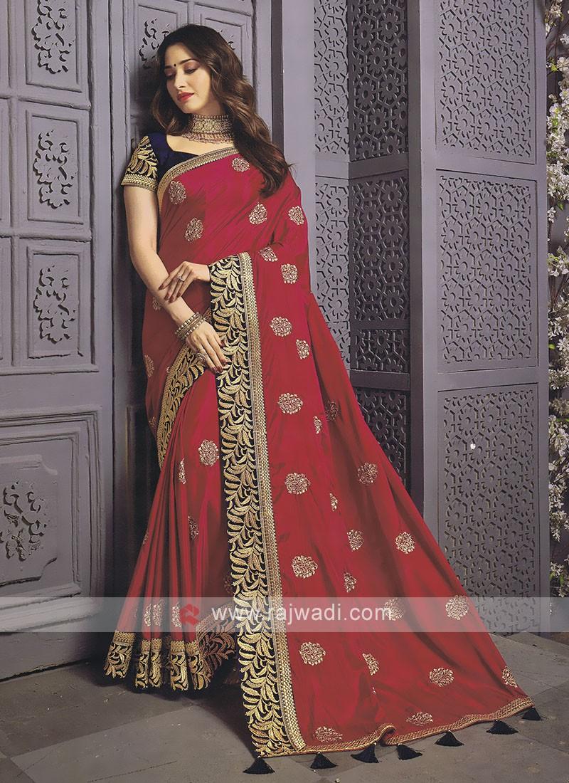 Art Silk Rani Color Designer Saree
