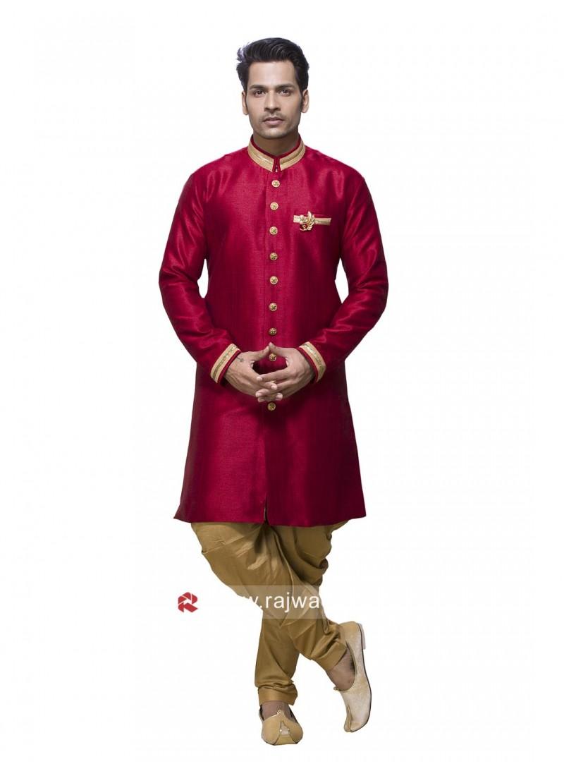 Art Silk Red Color Patiala Suit