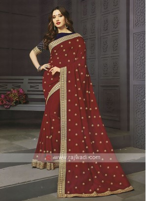 Art Silk Red Designer Saree