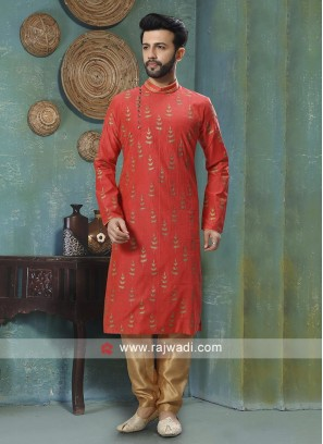 Cotton Silk Red Kurta Pajama