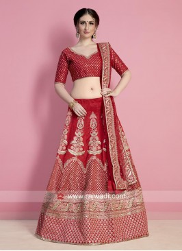 Art Silk Red Lehenga Choli for Bride
