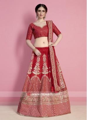 Art Silk Red Lehenga Choli for Bride