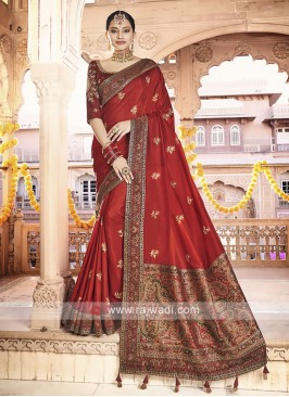 Art Silk Red Saree
