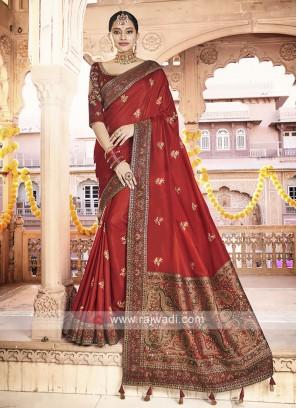 Art Silk Red Saree