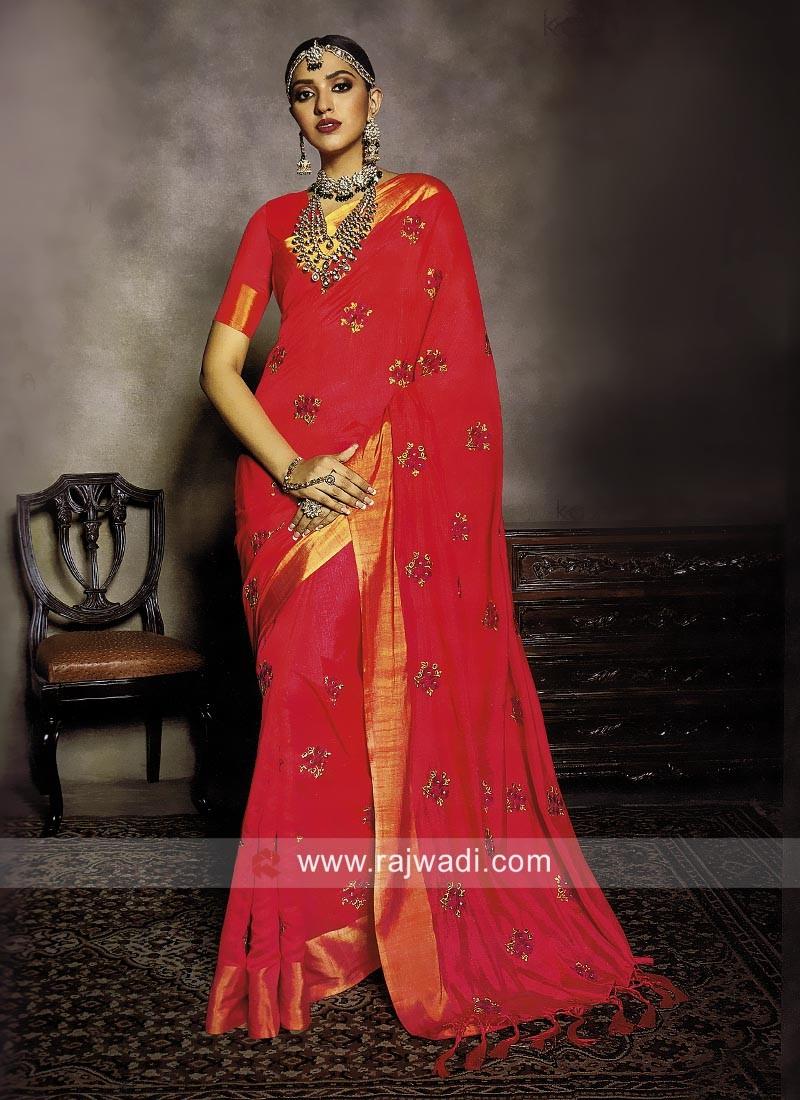 Art Silk Resham and Silk Work Saree