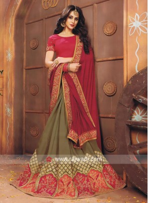 Art Silk Resham Work Half n Half Saree