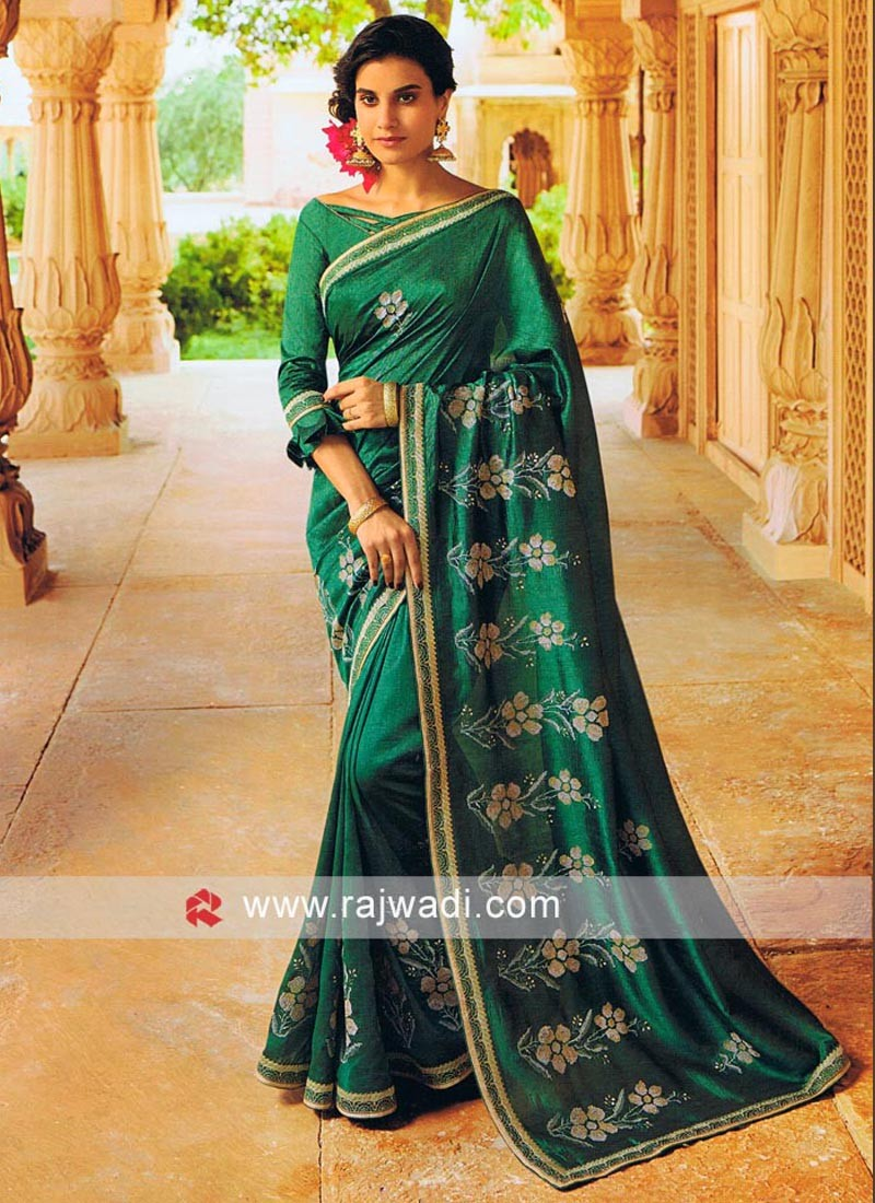 Art Silk Resham Work Saree