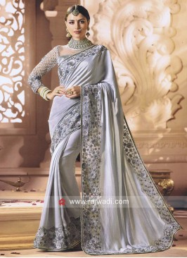 Art Silk Ribbon Work Saree in Grey