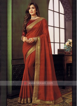 Art Silk Rust Color Saree