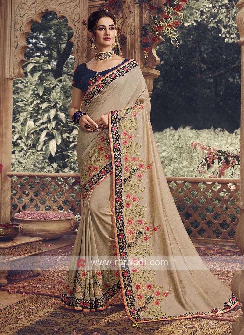 Art Silk Saree In Beige
