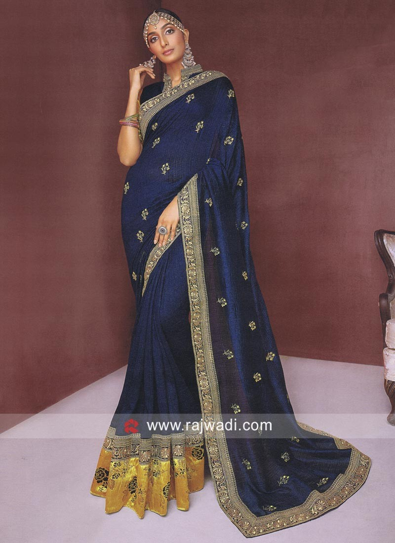 9cfe351a5b135d Art Silk Saree in Blue. Hover to zoom