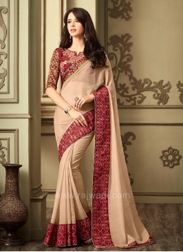 Art Silk Saree in Dark Beige