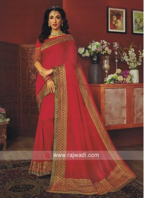 Art Silk Saree in Deep Pink