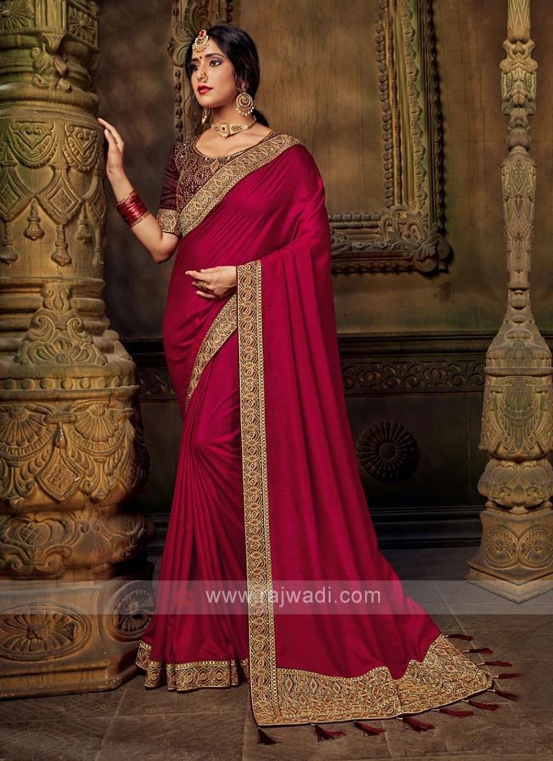 Art Silk Saree In Deep Pink