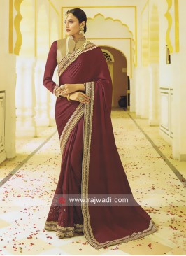 Art Silk Saree in Maroon