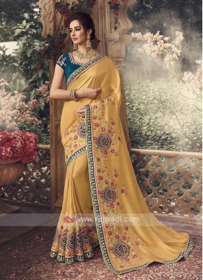 Art Silk Saree In Mustard Yellow