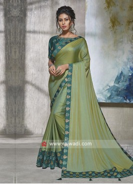 Art Silk Saree in Olive