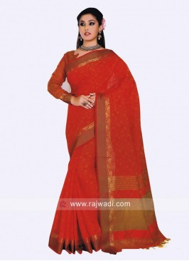 Art Silk Saree in Orange