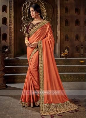 Art Silk Saree In Orange Color