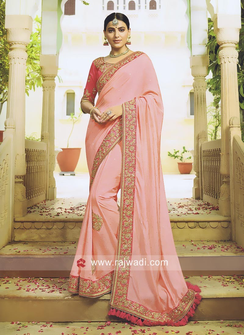 Art Silk Saree in Peach