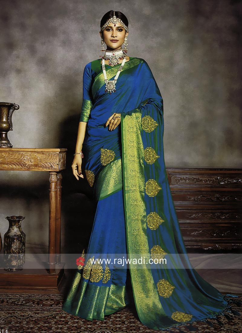 Art Silk Saree in Peacock Blue