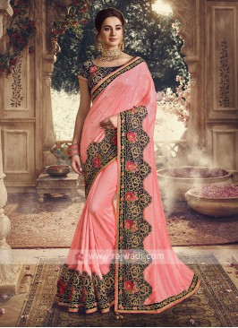 Art Silk Saree In Pink