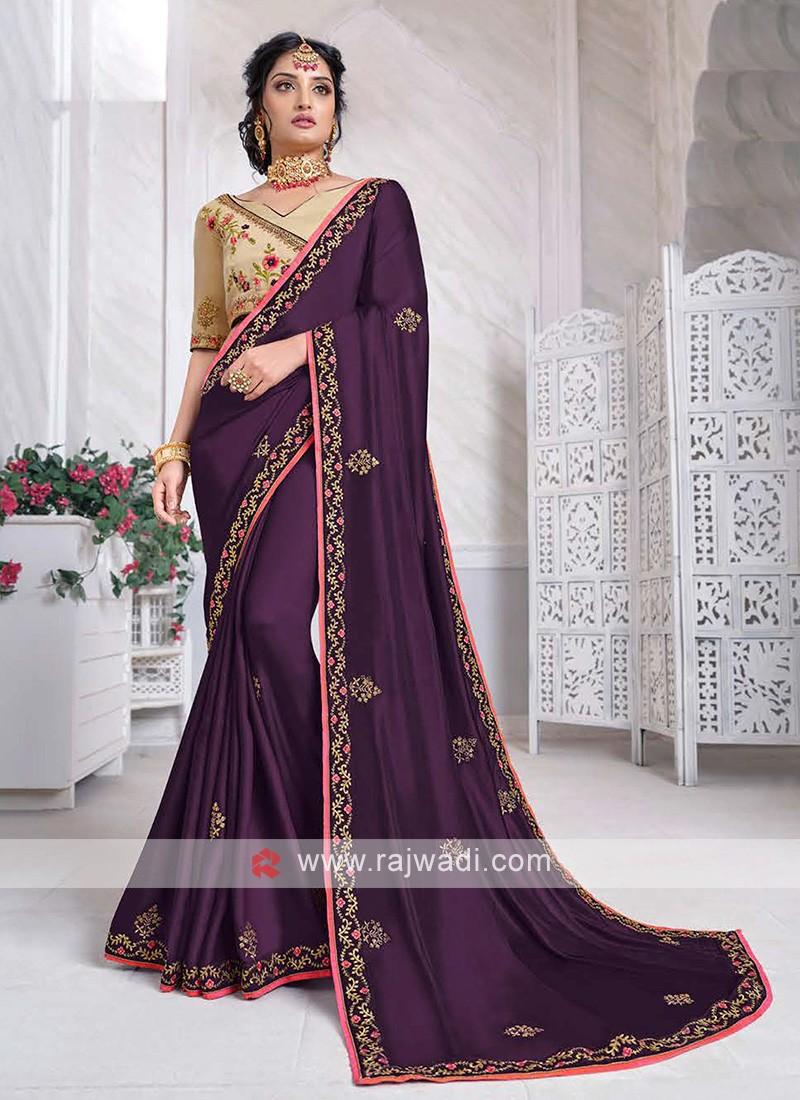 Art Silk saree In Purple Color