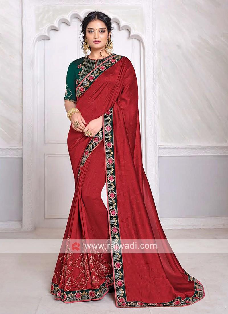 Art Silk Saree In Red
