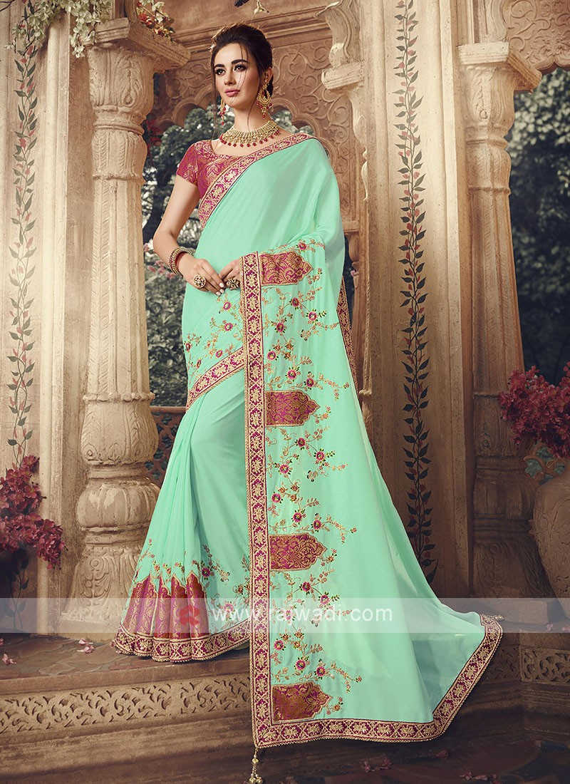 Art Silk Saree In Sea Green